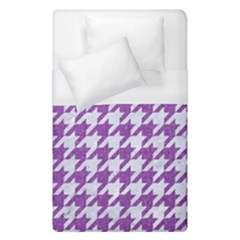 Houndstooth1 White Marble & Purple Denim Duvet Cover (single Size)