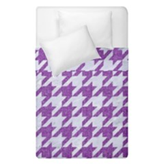 Houndstooth1 White Marble & Purple Denim Duvet Cover Double Side (single Size)