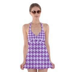 Houndstooth1 White Marble & Purple Denim Halter Dress Swimsuit  by trendistuff