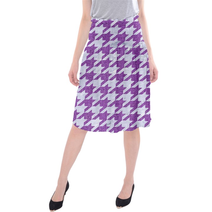 HOUNDSTOOTH1 WHITE MARBLE & PURPLE DENIM Midi Beach Skirt