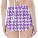 HOUNDSTOOTH1 WHITE MARBLE & PURPLE DENIM High-Waisted Bikini Bottoms View2
