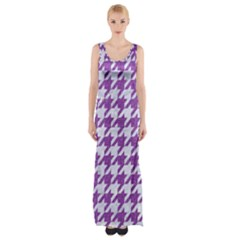 Houndstooth1 White Marble & Purple Denim Maxi Thigh Split Dress