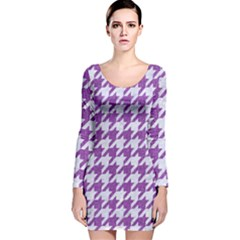 Houndstooth1 White Marble & Purple Denim Long Sleeve Velvet Bodycon Dress