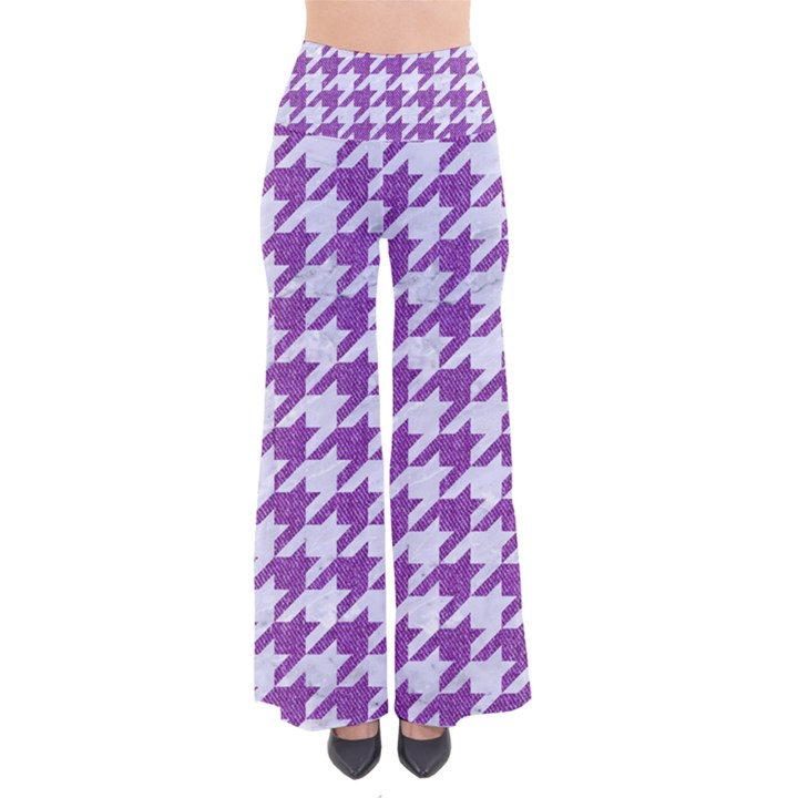 HOUNDSTOOTH1 WHITE MARBLE & PURPLE DENIM So Vintage Palazzo Pants