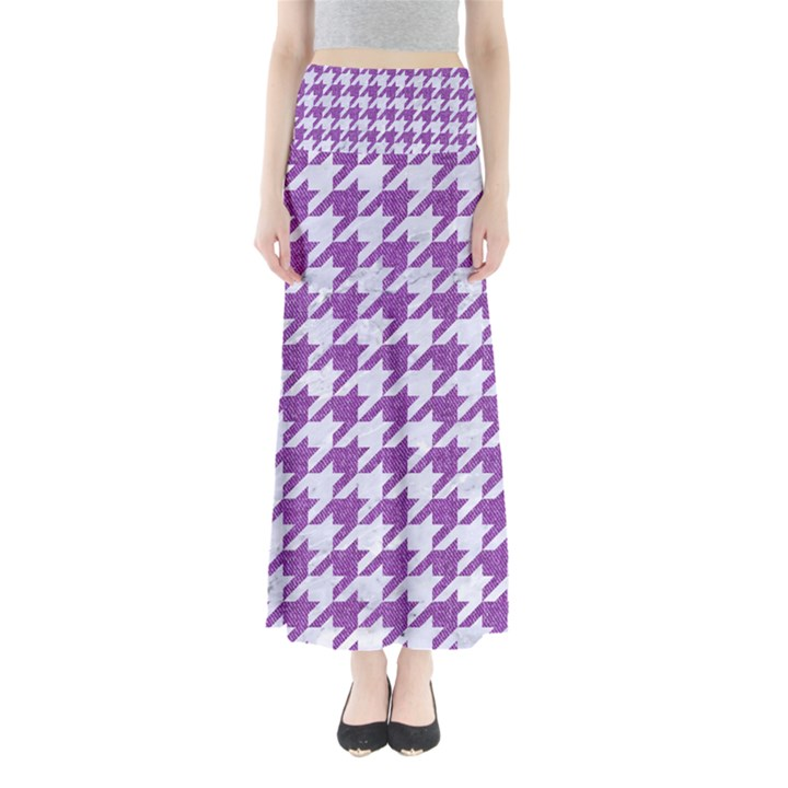 HOUNDSTOOTH1 WHITE MARBLE & PURPLE DENIM Full Length Maxi Skirt