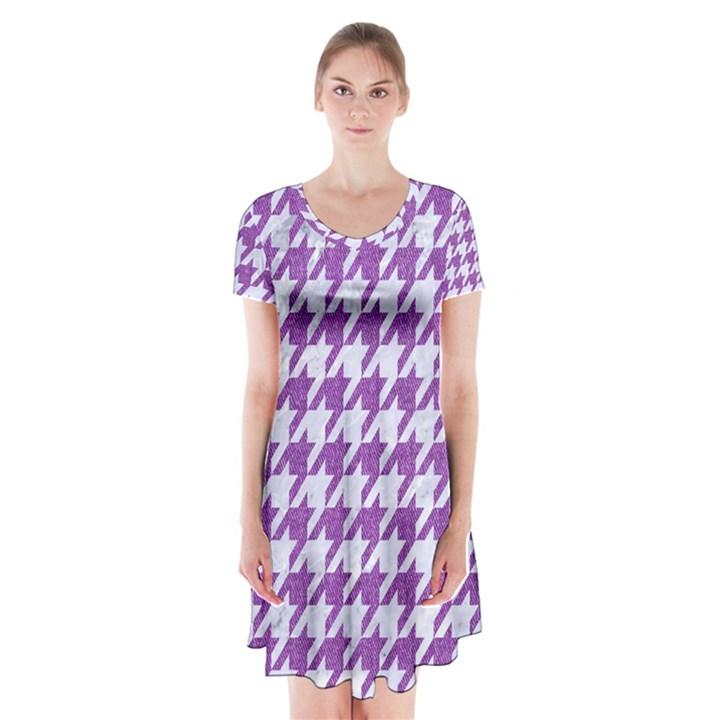 HOUNDSTOOTH1 WHITE MARBLE & PURPLE DENIM Short Sleeve V-neck Flare Dress