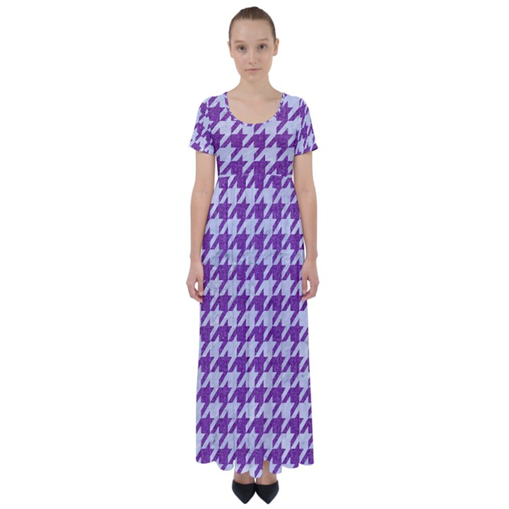 HOUNDSTOOTH1 WHITE MARBLE & PURPLE DENIM High Waist Short Sleeve Maxi Dress