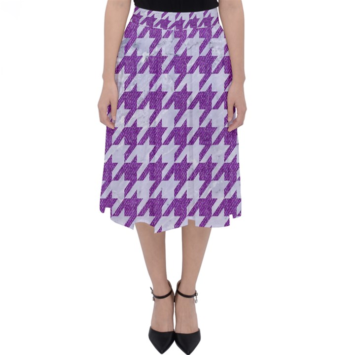 HOUNDSTOOTH1 WHITE MARBLE & PURPLE DENIM Folding Skater Skirt