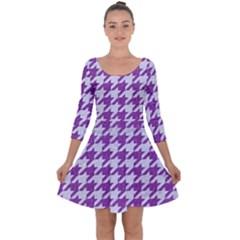 Houndstooth1 White Marble & Purple Denim Quarter Sleeve Skater Dress