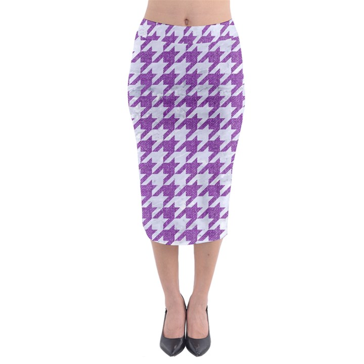 HOUNDSTOOTH1 WHITE MARBLE & PURPLE DENIM Midi Pencil Skirt