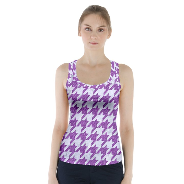 HOUNDSTOOTH1 WHITE MARBLE & PURPLE DENIM Racer Back Sports Top
