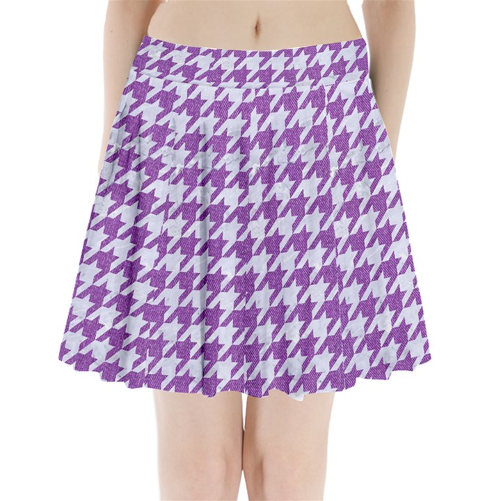 HOUNDSTOOTH1 WHITE MARBLE & PURPLE DENIM Pleated Mini Skirt