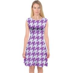 Houndstooth1 White Marble & Purple Denim Capsleeve Midi Dress