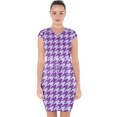 Houndstooth1 White Marble & Purple Denim Capsleeve Drawstring Dress  by trendistuff