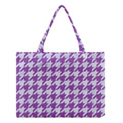 Houndstooth1 White Marble & Purple Denim Medium Tote Bag