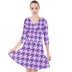 Houndstooth1 White Marble & Purple Denim Quarter Sleeve Front Wrap Dress