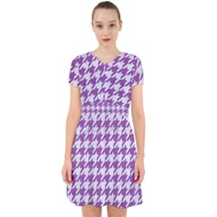 Houndstooth1 White Marble & Purple Denim Adorable In Chiffon Dress