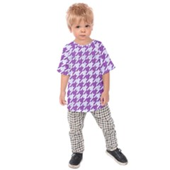 Houndstooth1 White Marble & Purple Denim Kids Raglan Tee