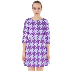 Houndstooth1 White Marble & Purple Denim Smock Dress