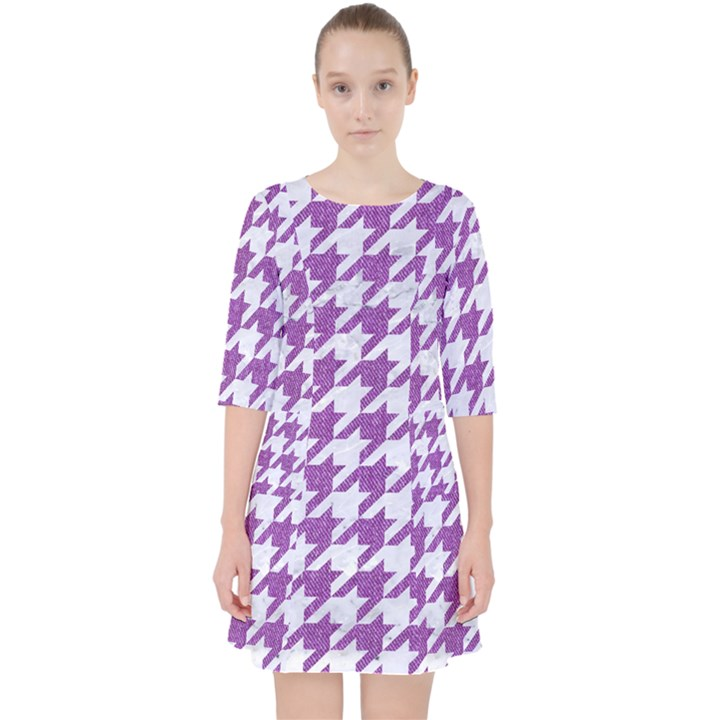 HOUNDSTOOTH1 WHITE MARBLE & PURPLE DENIM Pocket Dress