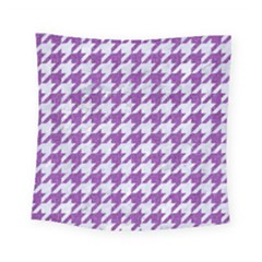 Houndstooth1 White Marble & Purple Denim Square Tapestry (small)