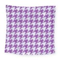 HOUNDSTOOTH1 WHITE MARBLE & PURPLE DENIM Square Tapestry (Large) View1