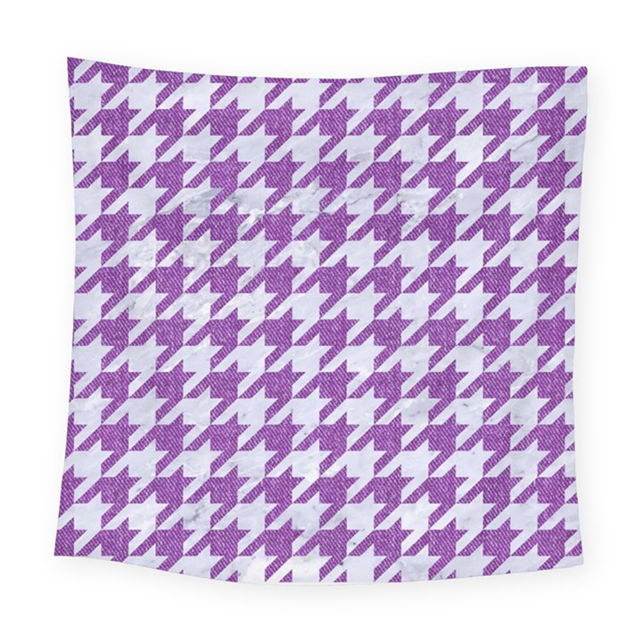 HOUNDSTOOTH1 WHITE MARBLE & PURPLE DENIM Square Tapestry (Large)