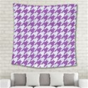 HOUNDSTOOTH1 WHITE MARBLE & PURPLE DENIM Square Tapestry (Large) View2