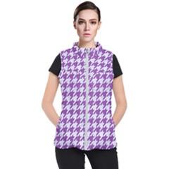 Houndstooth1 White Marble & Purple Denim Women s Puffer Vest