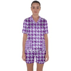 Houndstooth1 White Marble & Purple Denim Satin Short Sleeve Pyjamas Set