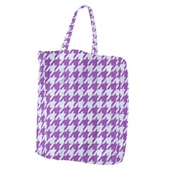 Houndstooth1 White Marble & Purple Denim Giant Grocery Zipper Tote