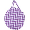 HOUNDSTOOTH1 WHITE MARBLE & PURPLE DENIM Giant Round Zipper Tote View1