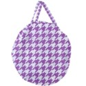HOUNDSTOOTH1 WHITE MARBLE & PURPLE DENIM Giant Round Zipper Tote View2