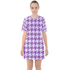 Houndstooth1 White Marble & Purple Denim Sixties Short Sleeve Mini Dress