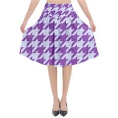 Houndstooth1 White Marble & Purple Denim Flared Midi Skirt