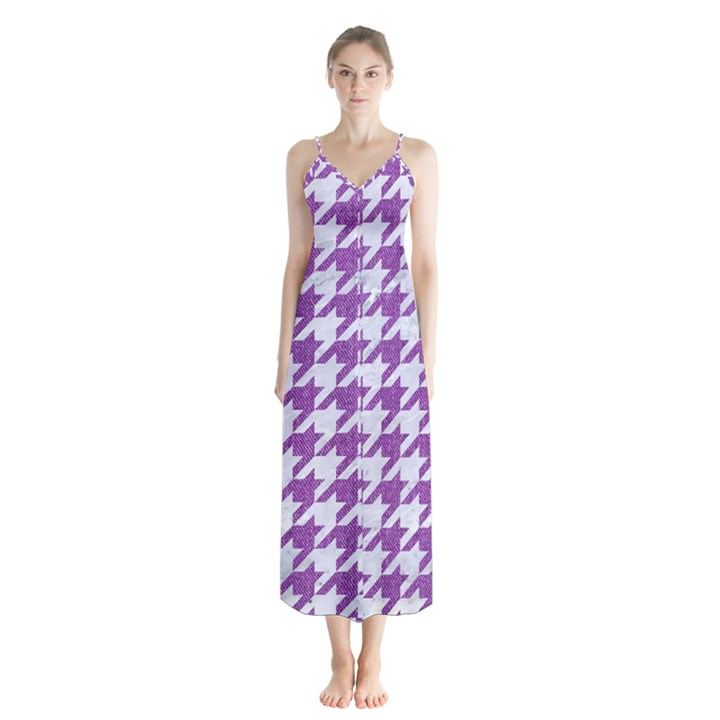 HOUNDSTOOTH1 WHITE MARBLE & PURPLE DENIM Button Up Chiffon Maxi Dress