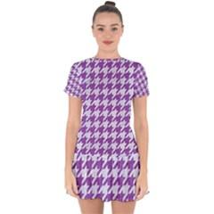 Houndstooth1 White Marble & Purple Denim Drop Hem Mini Chiffon Dress