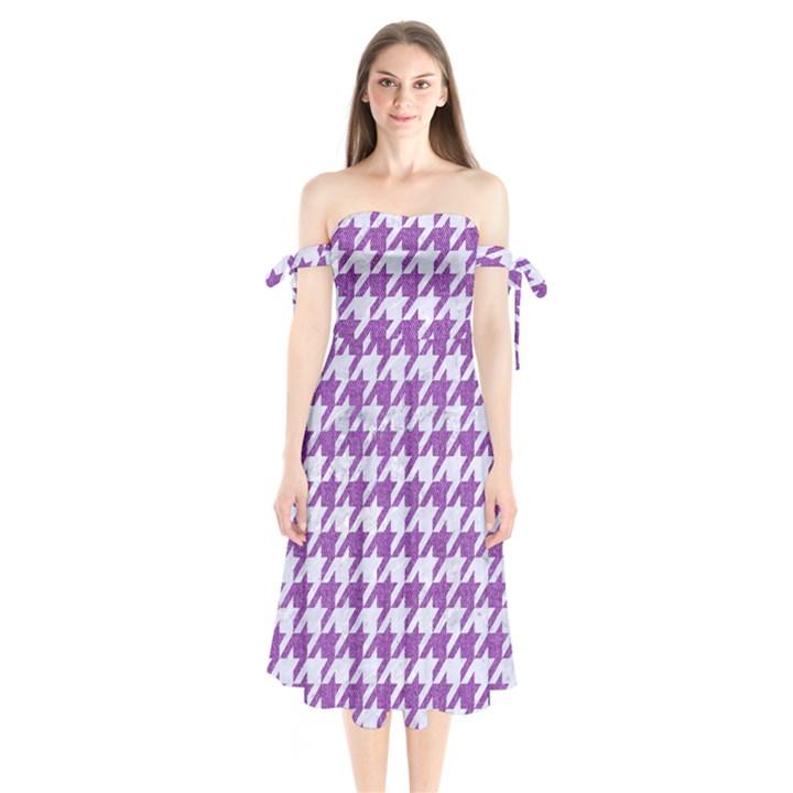 HOUNDSTOOTH1 WHITE MARBLE & PURPLE DENIM Shoulder Tie Bardot Midi Dress