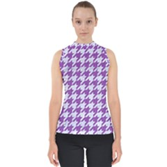 Houndstooth1 White Marble & Purple Denim Shell Top