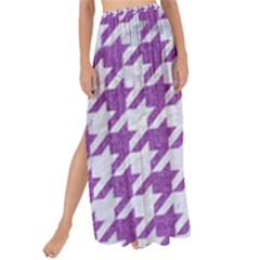 Houndstooth1 White Marble & Purple Denim Maxi Chiffon Tie Up Sarong