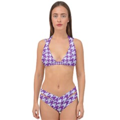 Houndstooth1 White Marble & Purple Denim Double Strap Halter Bikini Set