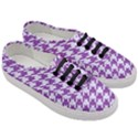 HOUNDSTOOTH1 WHITE MARBLE & PURPLE DENIM Women s Classic Low Top Sneakers View3
