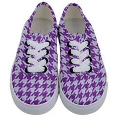 Houndstooth1 White Marble & Purple Denim Kids  Classic Low Top Sneakers