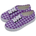 HOUNDSTOOTH1 WHITE MARBLE & PURPLE DENIM Kids  Classic Low Top Sneakers View2