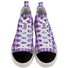 Houndstooth1 White Marble & Purple Denim Men s Mid Top Canvas Sneakers