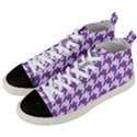 HOUNDSTOOTH1 WHITE MARBLE & PURPLE DENIM Men s Mid-Top Canvas Sneakers View2