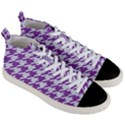 HOUNDSTOOTH1 WHITE MARBLE & PURPLE DENIM Men s Mid-Top Canvas Sneakers View3