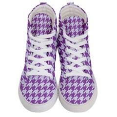 Houndstooth1 White Marble & Purple Denim Women s Hi Top Skate Sneakers