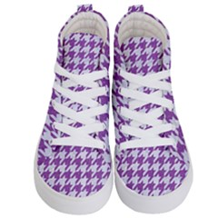 Houndstooth1 White Marble & Purple Denim Kid s Hi Top Skate Sneakers
