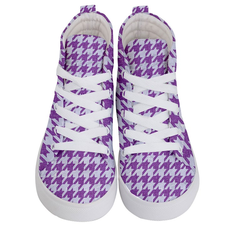 HOUNDSTOOTH1 WHITE MARBLE & PURPLE DENIM Kid s Hi-Top Skate Sneakers